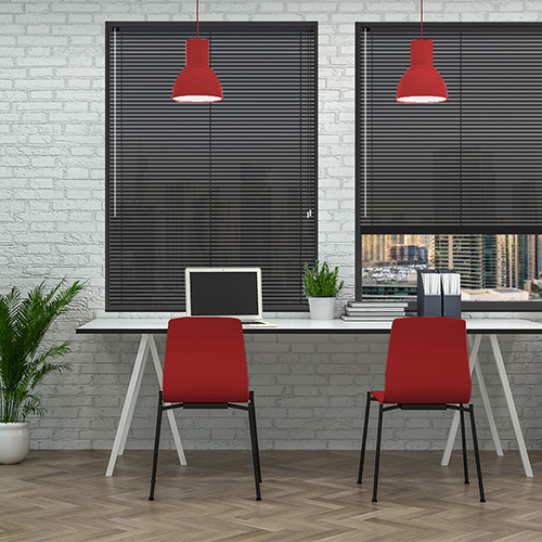 Rapture Black 25mm Aluminium Lifestyle Office Blinds
