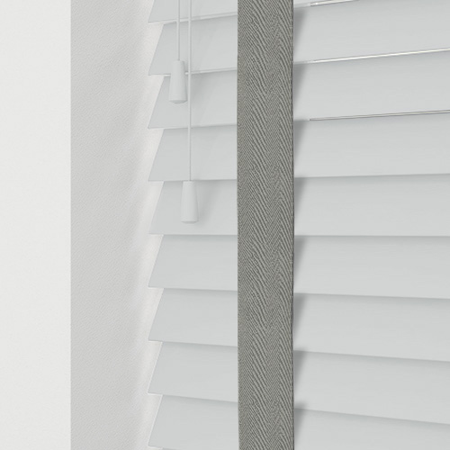 Smooth White & Silver Tape Lifestyle Wooden blinds
