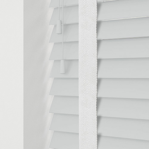 Smooth White & Snow Tape Lifestyle Wooden blinds
