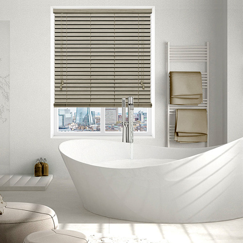 Canvas Embossed Oyster Lifestyle Wooden blinds