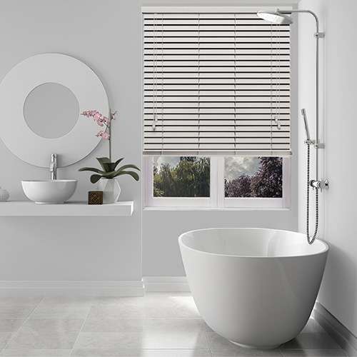 Ghost Embossed White Lifestyle Wooden blinds