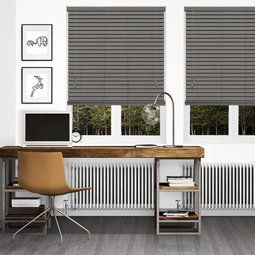 Timeless Embossed Dark Grey Lifestyle Wooden blinds