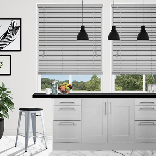 Smooth Grey Faux Lifestyle Wooden blinds
