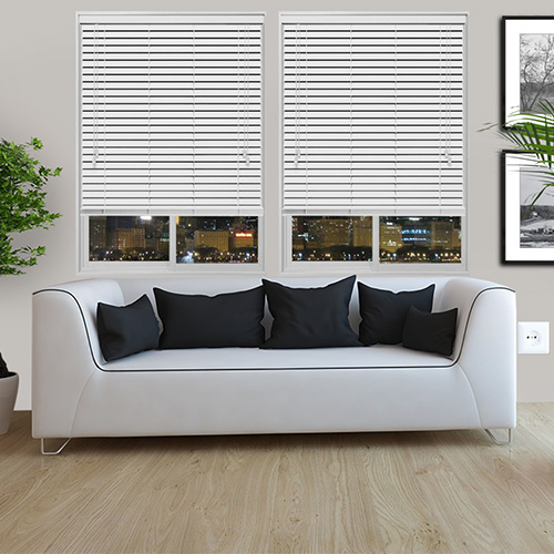 White Embossed Faux Lifestyle Wooden blinds