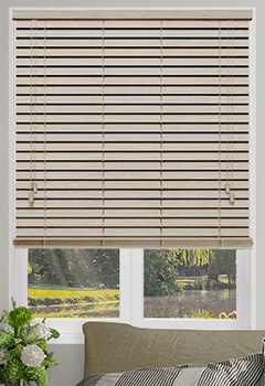 Abalone Embossed Cream Wooden Blind