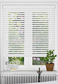 White Embossed Faux Wooden Blind