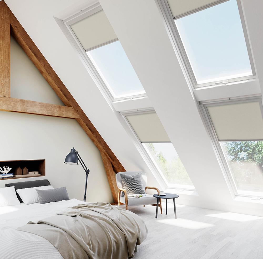 Velux creme skylight blinds for velux for Blinds for velux skylights