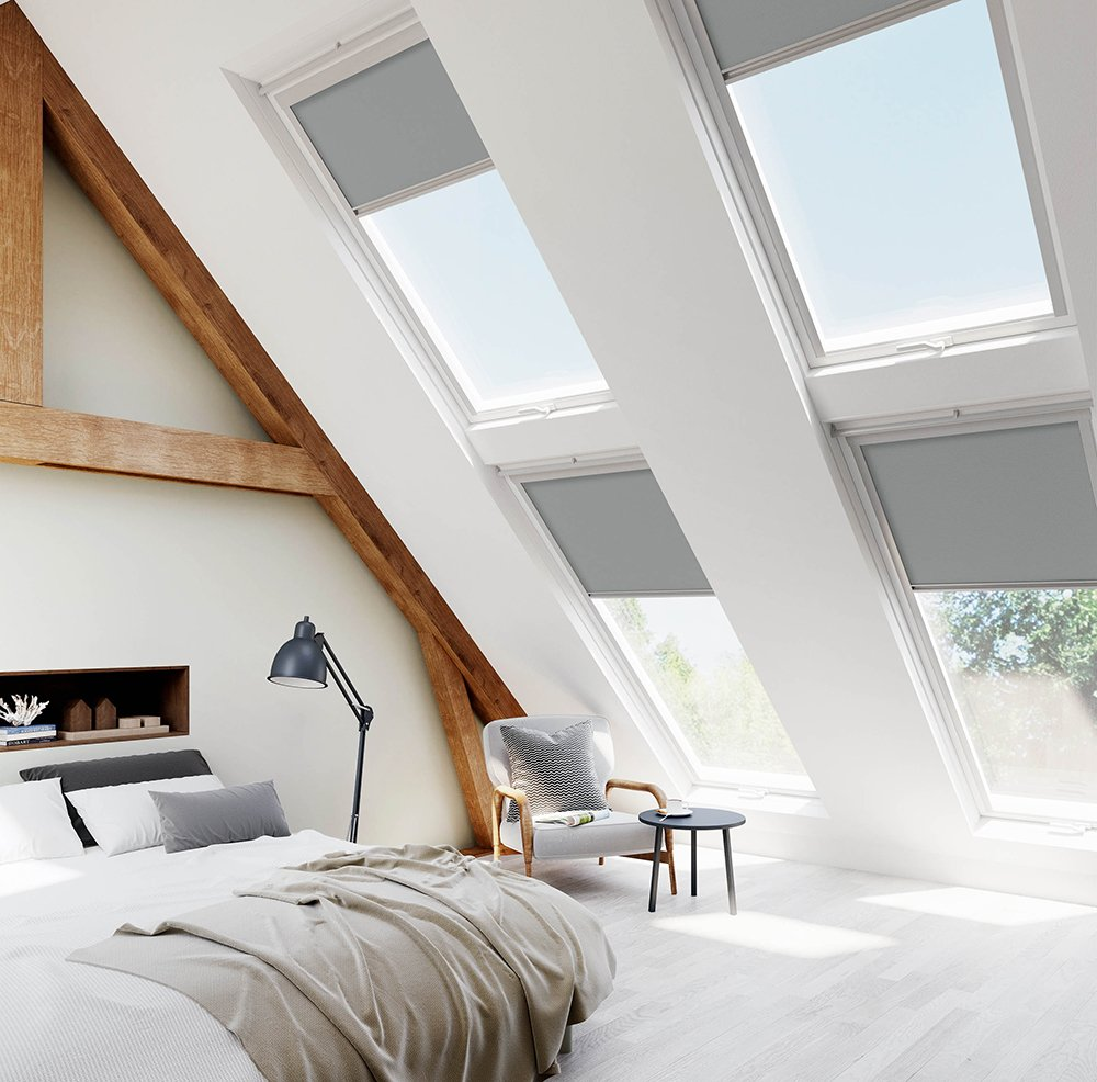 Velux grey skylight blinds for velux for Velux window shades